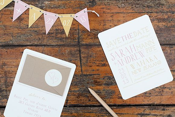 Whimsical Wedding Save the Date with pull-out bunting by Ruby & Willow #weddingstationery #weddinginvitations
