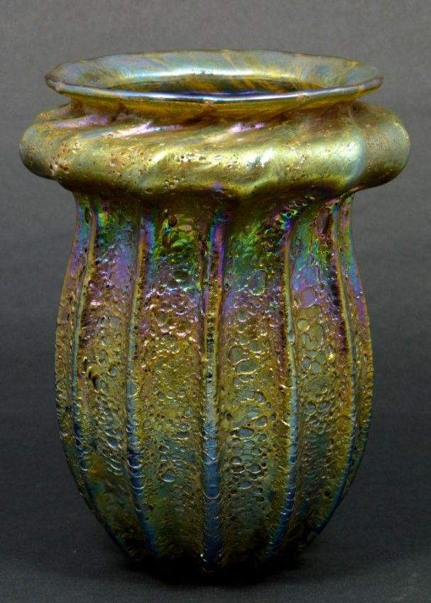 """Louis Comfort Tiffany (1848-1933) - Vase. Crackle Patterned Favrile Glass. Circa 1892-1902. 6-1/2"""" x 5-1/2""""."""