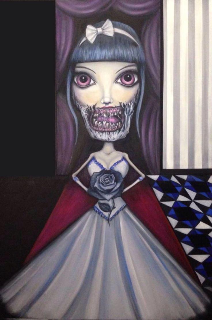 Macabre princess bride oil painting
