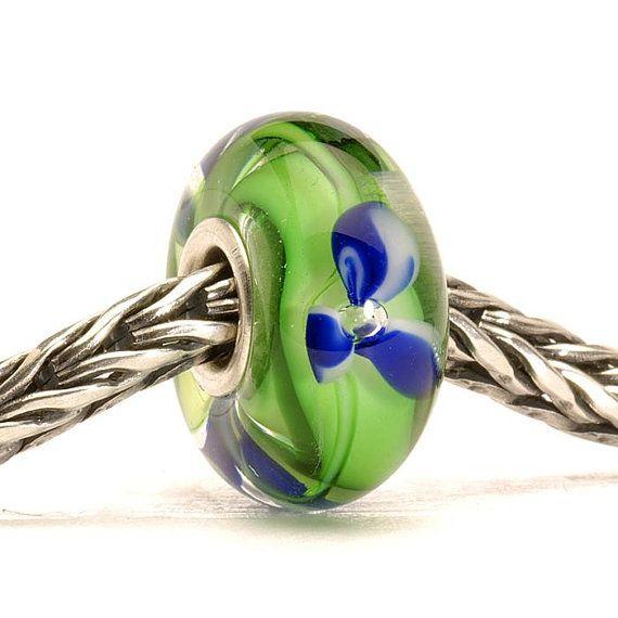 Authentic Trollbead  Blue Flower Retired