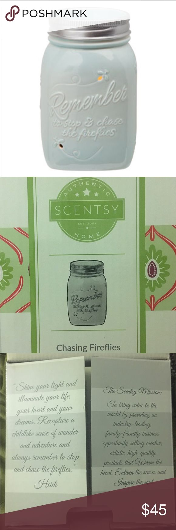 Scentsy Warmer Chasing Fireflies Mason Jar Blue Full Size Scentsy Warmer. Chasing Fireflies Mason Jar. New in box. OPEN TO OFFERS!!! Scentsy Other
