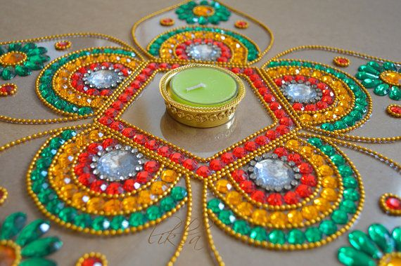 Diwali Rangoli Diwali Table Decor Rangoli in Orange Green by Likla, $35.00