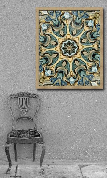 Digital download art  Teal and beige Art by HVaughtARTStudio