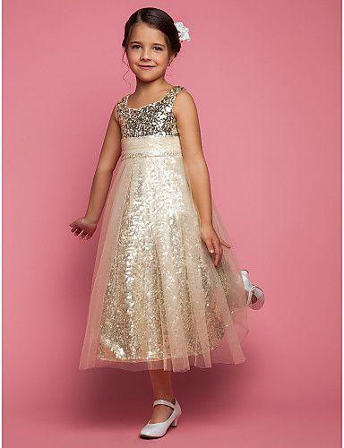 bir hat prenses mücevher çay boyu tül çiçek kız elbise  $59.99