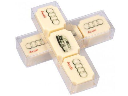 3er-Box bedruckte Pralinen mit Logo oder QR-Code, Pralinen individuell zum Bedrucken direkt auf der weißen Schokolade zum Mitessen.