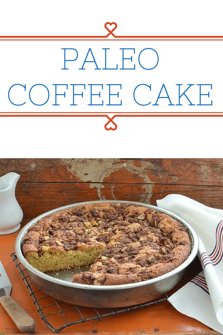 Homemade Cinnamon Coffee Cake is one of my favorite paleo comfort foods. Growing up my mother used to buy coffee cake and it was a special treat, albeit processed. My healthy version is made with only 6 ingredients –almond flour, salt, baking soda, coconut oil, honey, and eggs– this easy coffee cake recipe can be thrown together in no time flat. The topping has 3 additional ingredients –coconut sugar, cinnamon, and sliced almonds.
