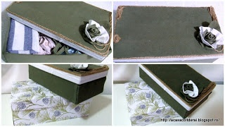by Acasa Colt de Rai - Another upcycled shoe box- Re purposed shoe box. Fabric covered shoe box used to hide craft supplies