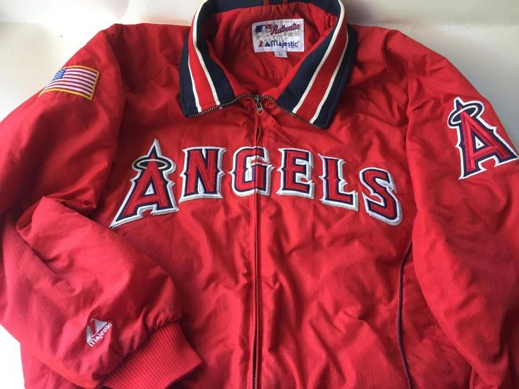 LOS ANGELES ANGELS OF ANAHEIM  Majestic Authentic MLB JACKET MENS  SIZE LARGE #Majestic #LosAngelesAngels
