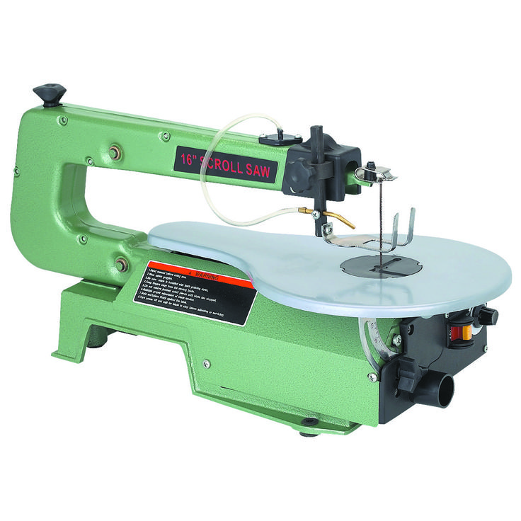Variable speed 16 in. scroll saw includes an air pump to