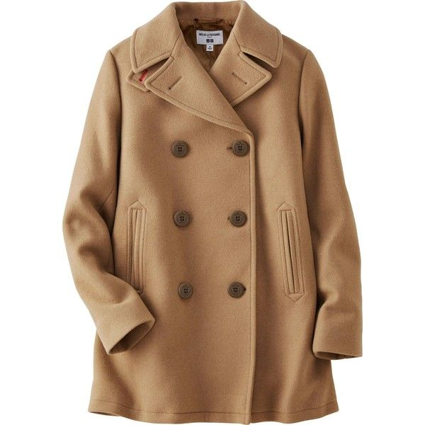 UNIQLO Women's Idlf Pea Coat ($150) ❤ liked on Polyvore featuring outerwear, coats, beige, brown peacoat, beige pea coat, uniqlo peacoat, pea coat and brown coat