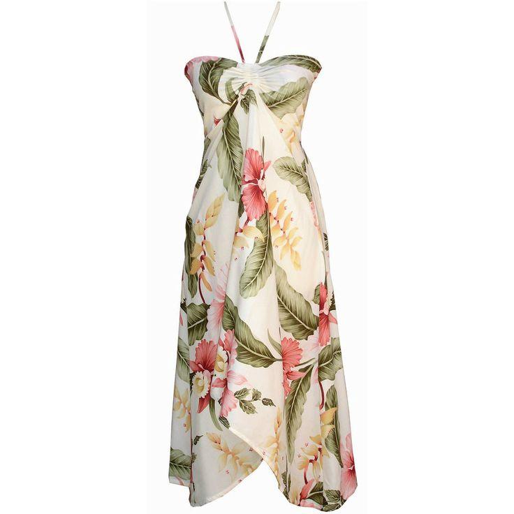 Sexy Tropical Hawaiian Halter Butterfly Party Cruise Luau Floral Dress Cream #TropicalGroup #Sundress #SummerBeach