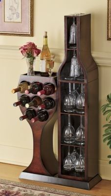 Conversation piece wine rack love this wood bottle and glass shaped wine cabinet love it - Wine rack shaped like wine bottle ...