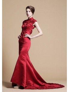 マーメイド ハイネックの バックレス チャペルトレーン サテン イブニングドレス