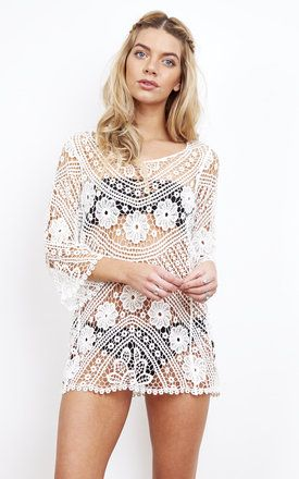 White lace cover-up by BeachHeart perfect for beach clubs and sipping cocktails by the pool