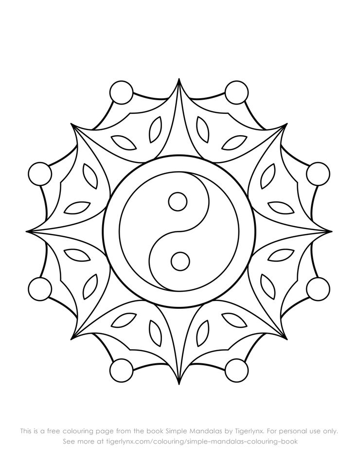 This is a free colouring page with an easy yin yang