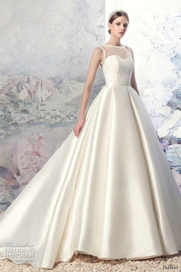 sleeveless illusion boat sweetheart neckline embellished bodice satin princess a  line wedding dress sheer back long train (1605l volga) mv