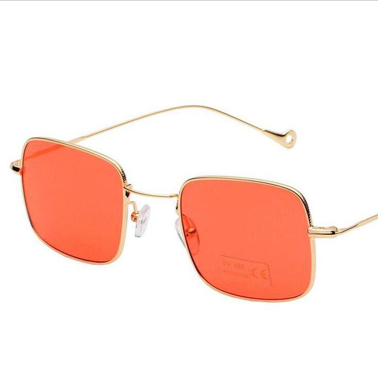 Transparent Lens sunglasses Sunglasses Fashion Women Mens Metal Thin Frame Clear Lady Square Mirrored Sunglasses