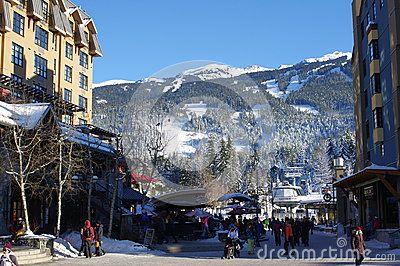 Mountain Square in Whistler ski mountain resort in Western Canada.