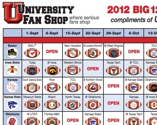 2012 BIG12 Football Schedule University university, Sam