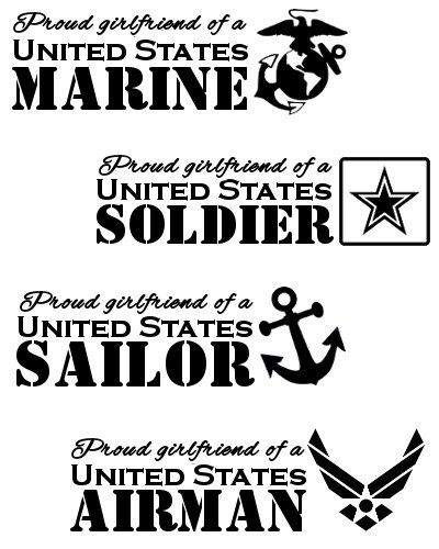 Proud Girlfriend of a United States Soldier Marine Airman Sailor 5 Inch Vinyl Window Decal - FREE Shipping Milso Army Marines Navy Air Force by MotoMadness on Etsy