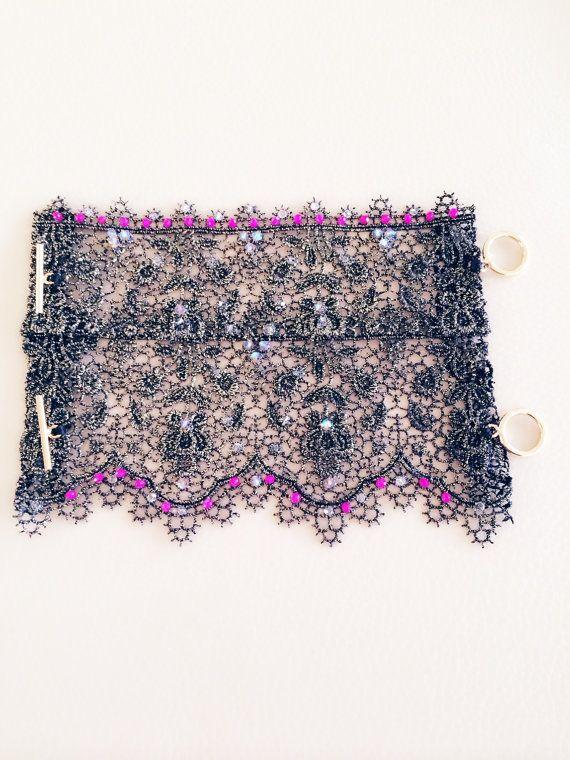 Dramatic Metallic Lace Cuff with Swarovski by SapphoByKimSmiley, $350.00