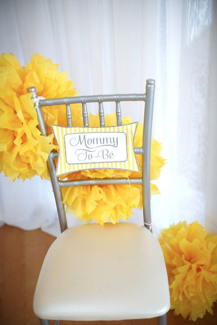 Mom to Be chair from a Yellow & Gray Alphabet Baby Shower + Gender Reveal…