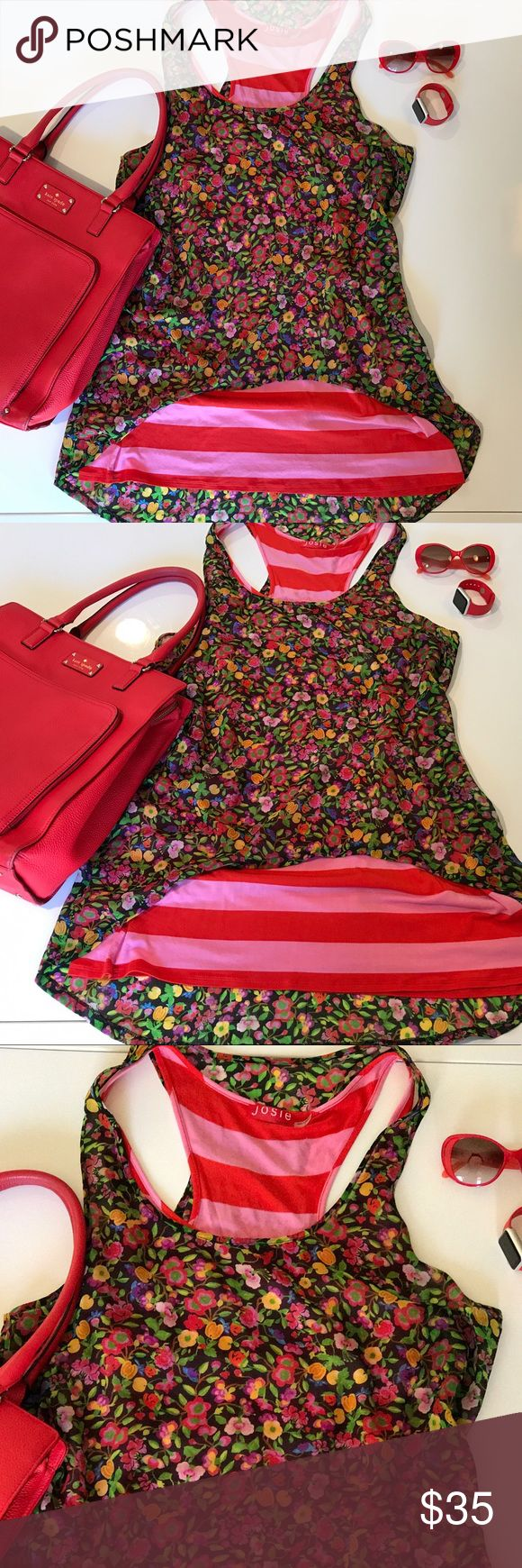 Josie Summer Spring Tunic Dress Josie Summer Spring Tunic Dress. Red and pink with flowered sheer top. Like new condition. Never worn! Josie Dresses Mini