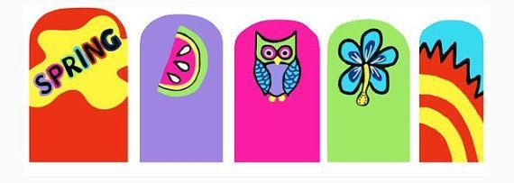 Яркий весенний ногтей обертывания. Розовая сова реальных ногтей от CompulsiveNails