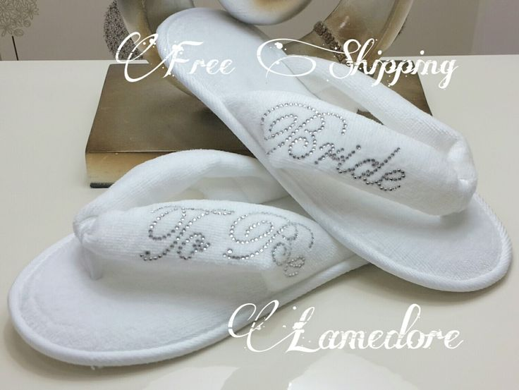 FREE SHIPPING Brides Wedding Slippers Honeymoon slippers - Velour flip flop slippers printed with rhineshine stones Bridal shower slippers shoes bridal special wedding women handmade bride flipflops honeymoon bridal shower rhine stone wedding gift 27.90 USD #goriani