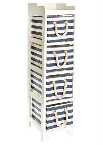 4 Drawer Stripe Wooden Tower Unit (24.5cm x 29cm x 95cm)