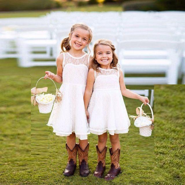 Korte knielengte white/ivoor heilige eerste communie jurken met sheer jewel hals kant bloem meisjes jurk voor bruiloft