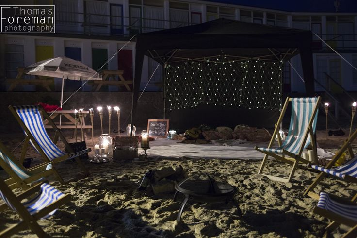 Outdoor evening wedding area on the beach in Cornwall. Wedding photography from a Porthgwidden wedding, St Ives.