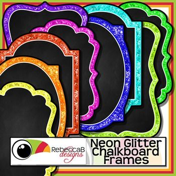 Neon Glitter Chalkboard Frames contains 36 neon, glitter framed, chalkboard frames as individual PNG CLIP ART files.  There are 9 colors and 4 styles.  Import the individual Clip Art frames to your editing program eg. Powerpoint and add text over the chalkboard.