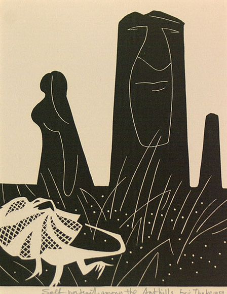 Eric Thake - Greeting card 'Self-portrait amoung the Ant hills' (linocut)