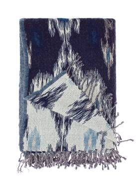 Linen House Lifestyle Ikat throw in blue, available at Forty Winks.