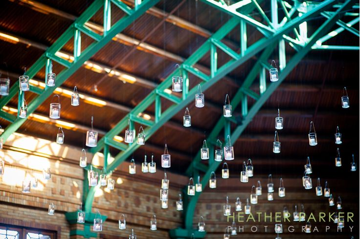 How awesome are these hanging candles?    scarlet petal chicago florist at cafe brauer