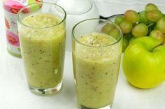 1 banán 70 g hrozna 2 kiwi 1 jablko 1 šálka zeleného čaju