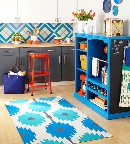 Painted DIY Kitchen Rug-- love this! It's made with vinyl flooring remnants, so easy and budget-friendly!