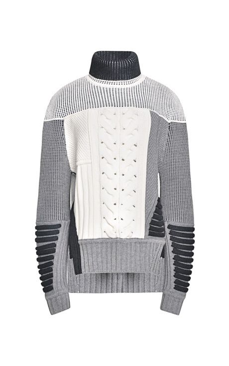 Mixed Intarsia Split Hem Sweater by Prabal Gurung for Preorder on Moda Operandi