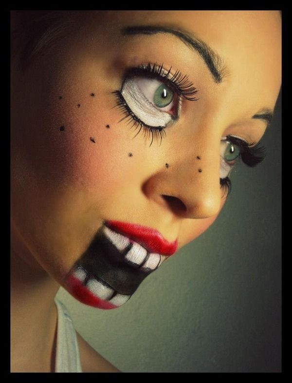 Creepy doll makeup.