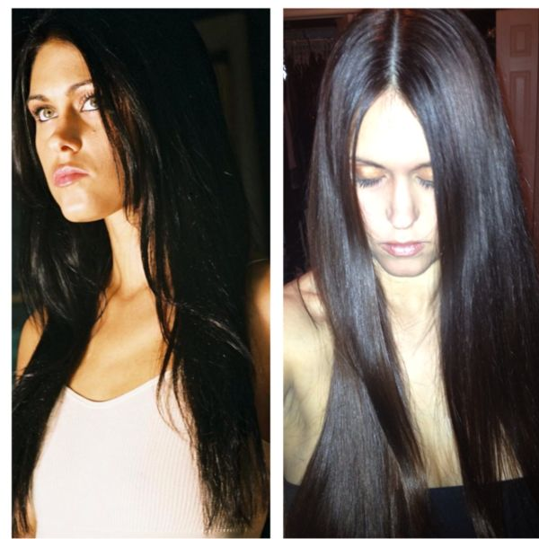 before and after WEN cleansing conditioner