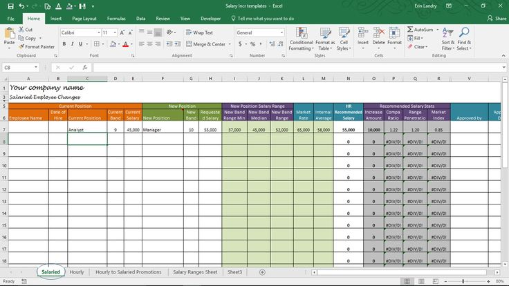 Salary Increase Template Excel, Compensation Metrics