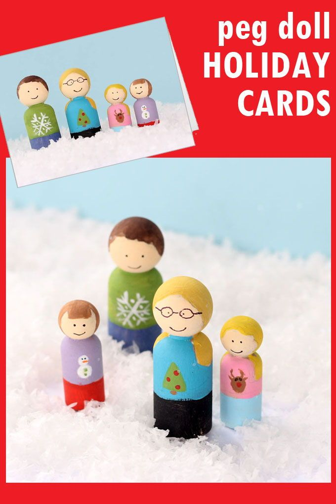 make your own peg doll family holiday cards -- unique Christmas