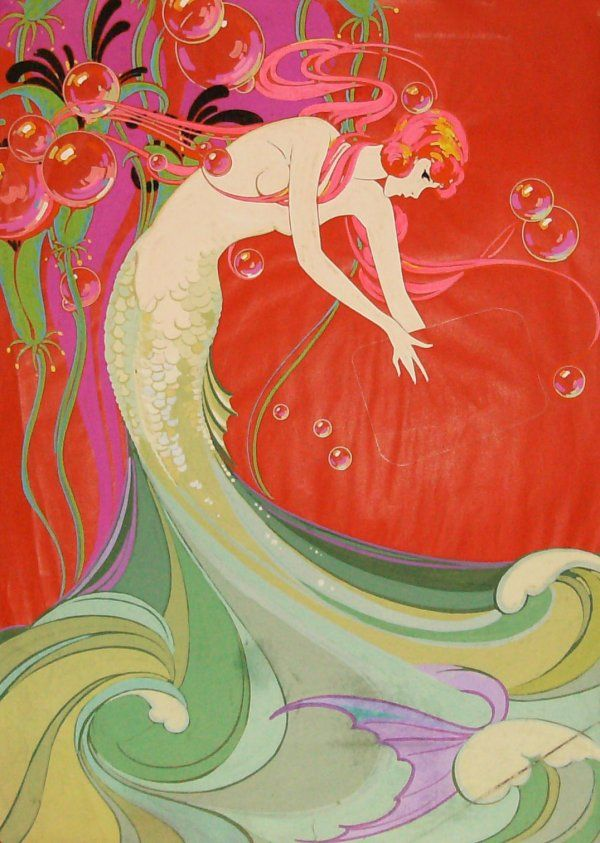 Art Nouveau Mermaid Drawings | 224: Mermaid - Art Deco Tempera.  Might make an interesting mosaic.