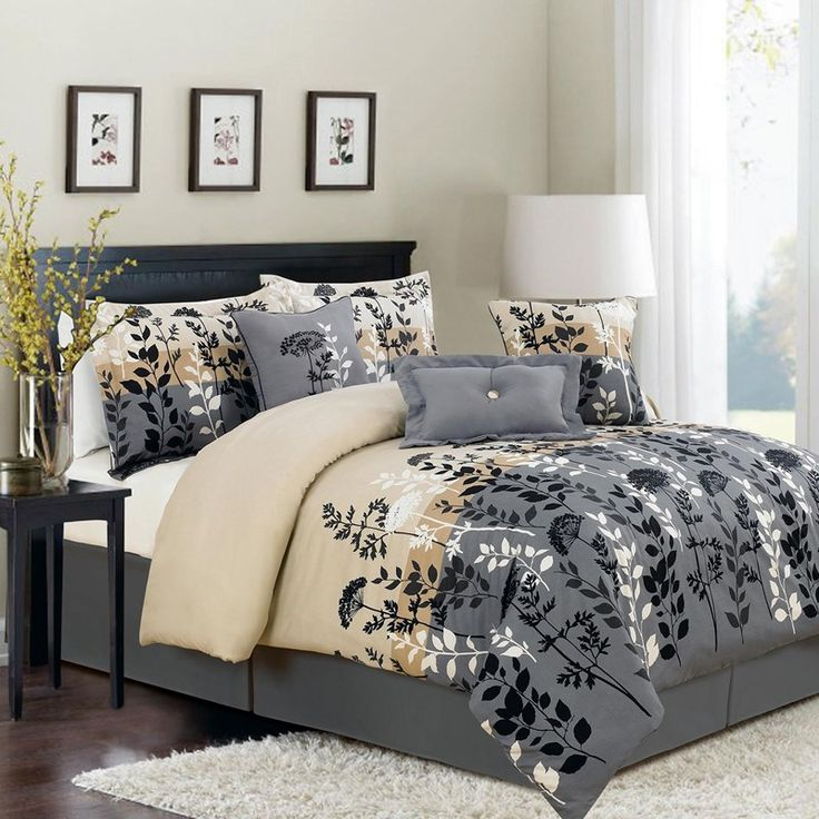 Modern Bedroom With Neutral Cream Wall Paint Color, White Table Lamp Shade,  And Grey Floral Bedding Set Queen