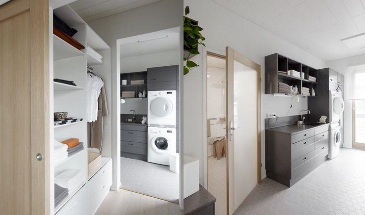 Makuuhuoneesta on yhteys walk in -vaatehuoneen kautta kodin märkätiloihin.