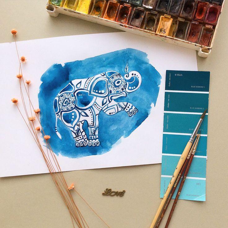 #Elephant #watercolor #sketch #mood #mehendi