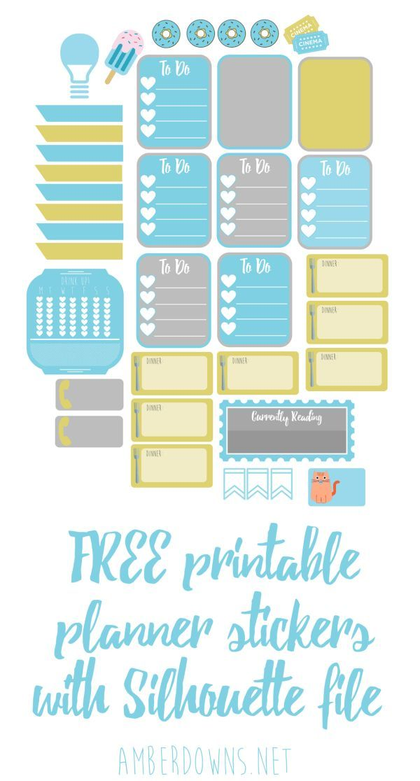FREE printable planner stickers with Silhouette file. Download these stickers for your planner. Works great in Happy Planner, Erin Condren, Filofax, and others.
