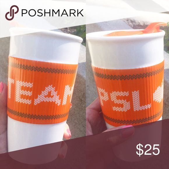 Team PSL ☕️🎃 Starbucks Probably the best travel mug everrr. Show your team spirit with this cute pumpkin spice latte ceramic cup from Starbucks. It's 10oz and has an orange lid & travel mug has a sweater like design across with Team PSL 🎃 written across. Brand new, never used, tags still on bottom of cup. starbucks Accessories