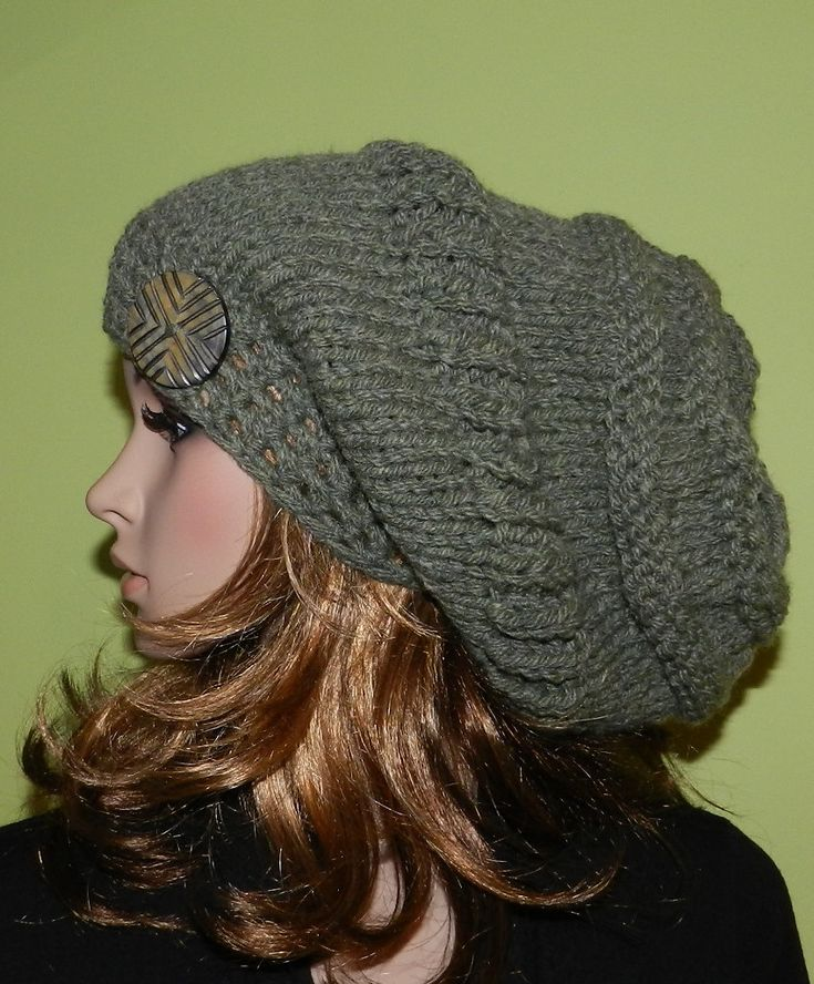 Knit Slouchy HIPPIE Hat, Slouchy Chunky Big Beanie, Slouch Hat, Boho Cap, Hippie Hat with big button Wool/Acrylic Willow Green.